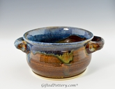 Handmade Stoneware Chili / Soup Bowl w Handles, Blue Brown Glaze