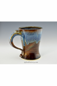 Handmade Stoneware Tall Coffee Mug in Ocean Blue Glaze 12 - 14 oz