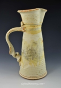 "Handmade Pottery Tall Angular Pitcher 11"" in Southwest Glaze"
