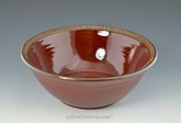 "Handmade Pottery 10.5"" Serving Bowl in Deep Red"