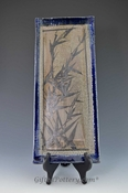 Handpainted Asian Motif Flat Tray Blue Bordered with Gray Design