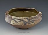 "Handpainted Asian Motif Rust and Beige ""Square"" Bowl"