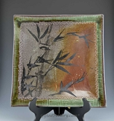 Handmade, Handpainted Asian Motif Square Tray with Rust and Gray Design