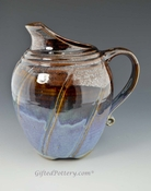 "Large 9"" English Pitcher in Rutile Blue and Plum Brown"