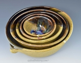 Handmade Pottery 5 pc Mixing Bowl Set - Gold