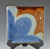 "Handmade Stoneware Square Cracker Tray 9"" in Ocean Blue Glaze"