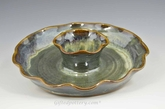 """Stoneware Fluted Chip and Dip 8"""" diameter in Gray Green Glaze"""