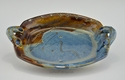 Stoneware Pottery Baker / Serving Dish with Handles in Ocean Blue Glaze