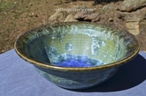 "Violet Blue, Light Green and Brown 9"" Crystalline Bowl"