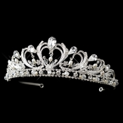 Regal Pearl and Rhinestone Tiara for Quinceanera, Wedding