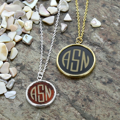 Acrylic Block Monogram Pendant Necklace