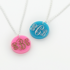 Acylic Monogram Disc Necklace Engraved in Script