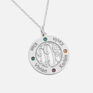 Bordered Monogram Pendant Personalized with Names and  Swarovski Birthstones