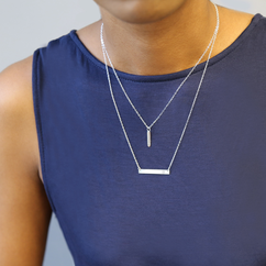 Double Layer Initial Necklace in Sterling Silver