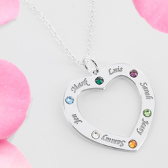 Family Necklace Personalized with names and Swarovski Birthstones in Sterling Silver