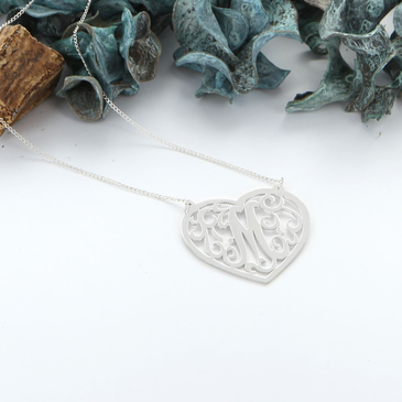 Heart Single Initial Necklace in Silver