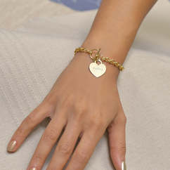 Heavy Chain Bracelet with Personalized Heart Charm