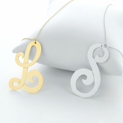 Large Single Initial Necklace in Silver