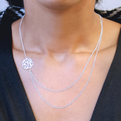Layered Silver Monogram Necklace