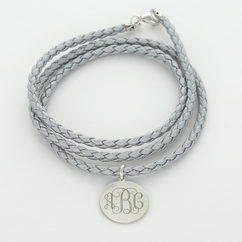 Monogram Braided Wrap with Silver Charm