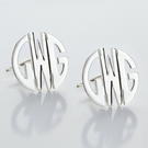 Monogram Small Block Style Post Earrings