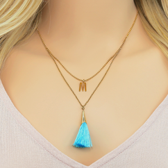 Multi Layered Initial Necklace w/ Tassel