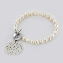 Pearl Bracelet with Sterling Silver Silver Monogram
