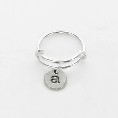 Personalized Adjustable Initial Charm Ring