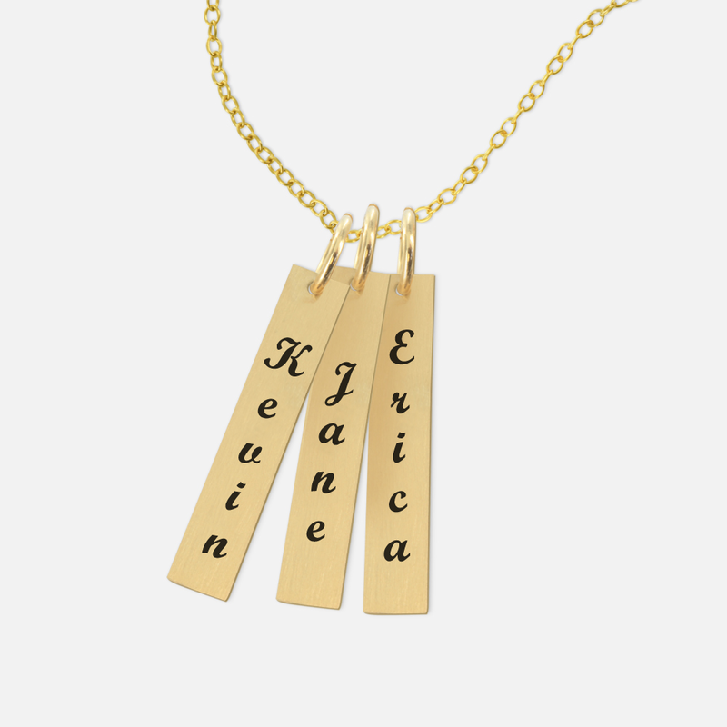 personalized bar name necklace in script
