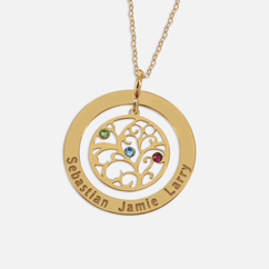 Personalized Birthstone Family Tree Mother Necklace