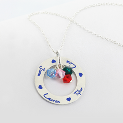 Personalized Circle Name Necklace with Birthstones