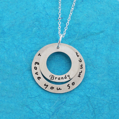 Personalized Circle Necklace with Quote and Name in Satin Finish