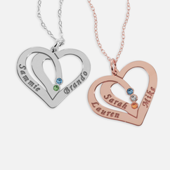 Heart Necklace Personalized with Names and Swarovski Birthstones
