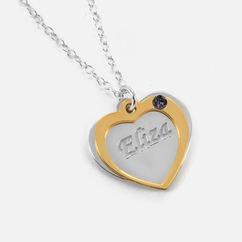 Personalized Heart Pendant with Name and Swarovski Birthstone