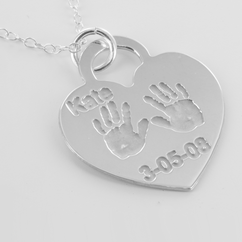 Personalized Heart Shaped Baby Hand Print Pendant in Silver