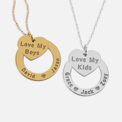Personalized Kids Name Necklace with Mom Heart Pendant