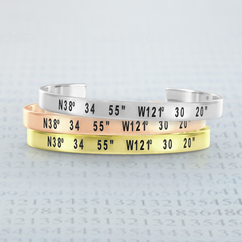 Personalized Laser Engraved Bangle with Coordinates