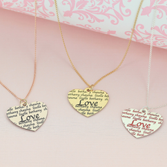 Personalized LOVE Heart Necklace in Color Finish