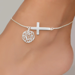 Personalized Monogram Anklet with Sideways Cross