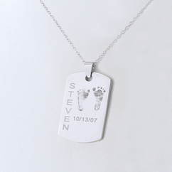 Personalized Rectangular Baby Foot Print Pendant in Silver