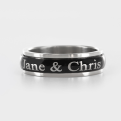 Personalized Single Stainless Steel Black Tone Couple's Spinner Ring
