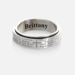 Personalized Single Stainless Steel Couple's Religious Spinner Ring