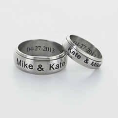 Personalized Single Stainless Steel Couple's Spinner Ring