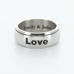 "Personalized Single Stainless Steel Spinner Ring ""Live Love Laugh"""