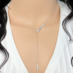Personalized Sterling Silver Birthstone Bar Lariat Necklace