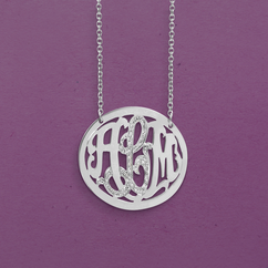Round Monogram Necklace with stones in Silver