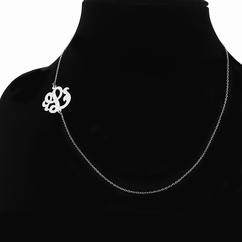 Script Monogram Initial Side Necklace in Silver