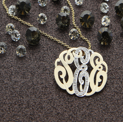 Silver Designer Monogram Necklace with stones