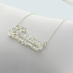 Silver Double-Plate Name Necklace w/Diamond stones