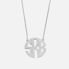Silver Handmade Monogram Necklace block letters split chain
